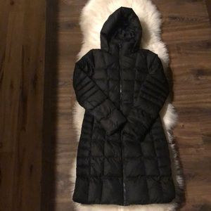 The North Face black down parka